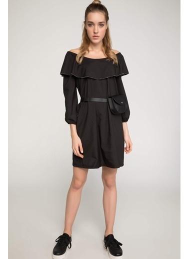 DeFacto Yakası Fırfırlı Elbise Siyah